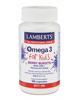 Omega 3 för barn (fiskoljekapslar med god bärsmak) - 100 kapslar