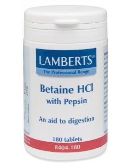 Betain Kosttillskott - Betainhydroklorid  Hcl 324mg / PEPSIN 5 mg (180 tabletter)