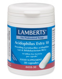 Acidofilus EXTRA 10 miljarder (vänliga/goda bakterier probiotika) (30 kapslar)